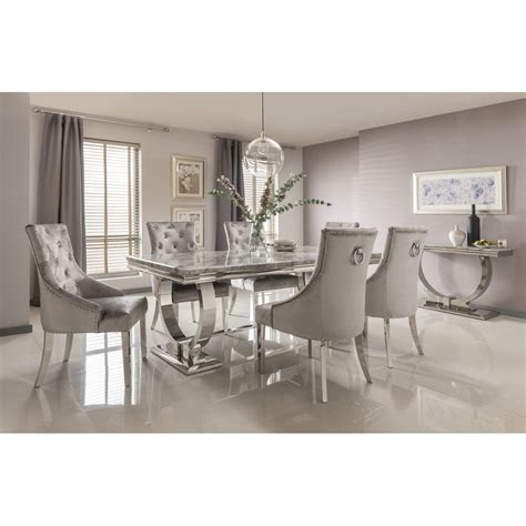arianna marble dining table set in grey dining room from