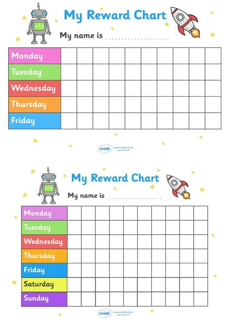 Printable Reward Charts Ks1 | twinkl resources my reward chart space themed thousands of