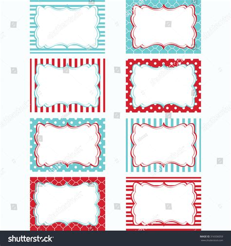 Gift Card Frame - red and aqua printable labels set tags photo frame gift tags scrapbooking card