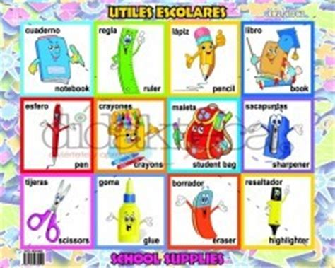 imagenes de utiles escolares en ingles a world of colors
