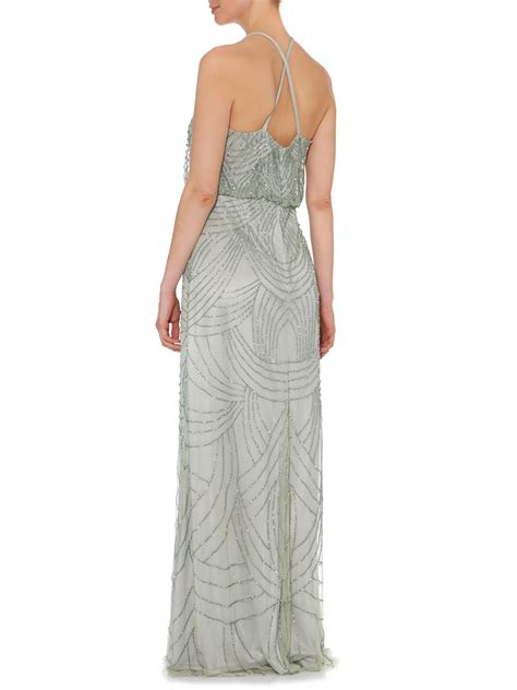 beaded deco dress papell deco beaded dress in metallic lyst