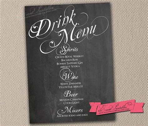 electronic age chalkboard sign chalkboard menu signs by printable chalkboard drink menu card wedding drinks
