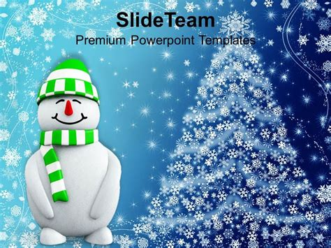 christmas greetings snowman with background powerpoint