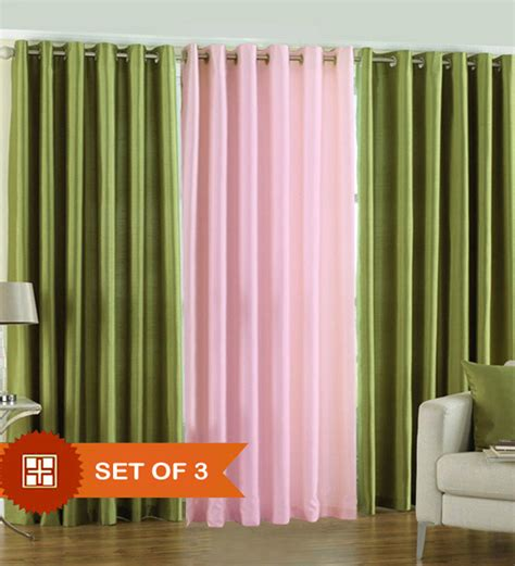 Baby Pink Curtains Pindia Green N Baby Pink Door Curtains Set Of 3 Pcs 7 Ft By Pindia Solids