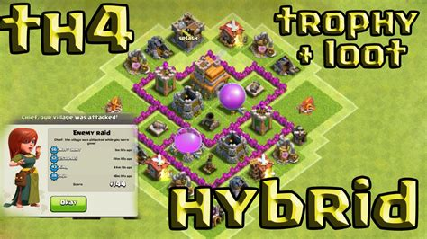 layout coc town hall 4 clash of clans town hall 4 defense coc th4 best hybrid