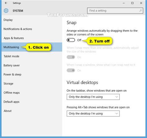 windows 10 snap tutorial turn on or off aero snap in windows 10 windows 10 tutorials
