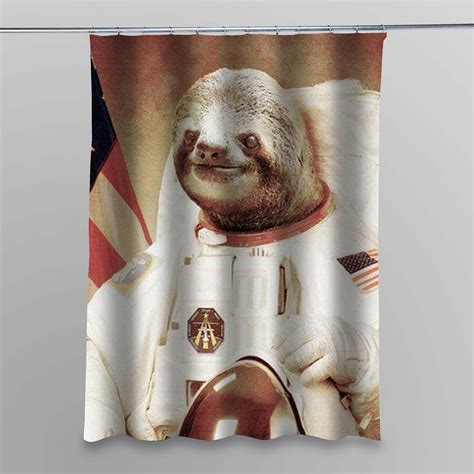 slothzilla shower curtain slothzilla astronaut shower curtain myshowercurtains
