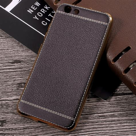 Softcase Tpu Keren Soft Cover Casing Vivo Y53 lychee grain leather coated plating tpu phone for vivo y53 black