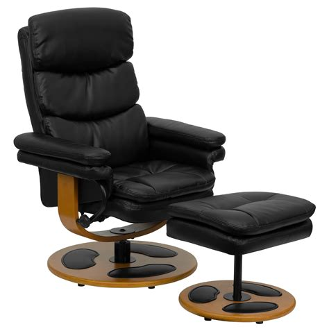 Leather Recliner With Ottoman Flash Contemporary Black Leather Recliner And Ottoman With Wood Base By Oj Commerce Bt 7828