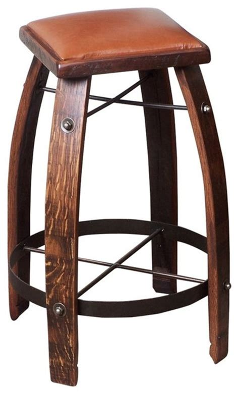 24 quot stave stool with leather top craftsman bar