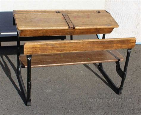 desk with bench seat 1920 s oak double school desk and bench seat antiques atlas