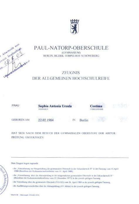 Lebenslauf Abitur Nicht Bestanden Abitur Zeugnis 2003 Paul Natorp Oberschule Costima
