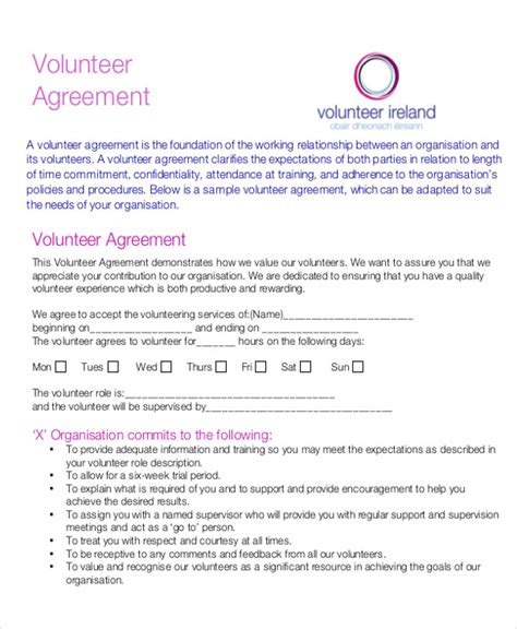 Letter Of Agreement For Volunteers Letters In Pdf