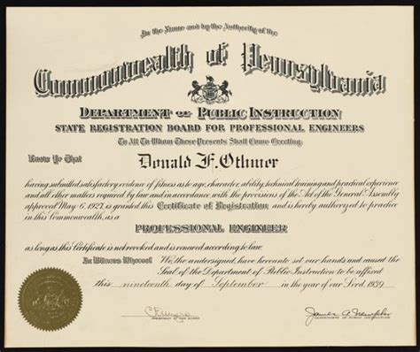certificate  registration  donald  othmer   professional engineer   commonwealth