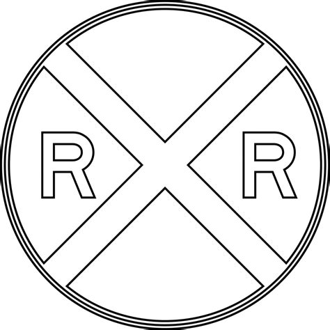 free coloring pages of rail road crossing sign