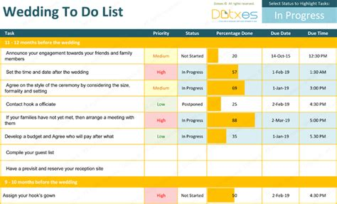 Wedding Planner To Do List by List Templates Dotxes