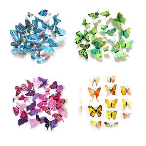 Stiker Dinding Butterfly 3d 12pcs purple2 12pcs 3d removable butterflies stickers lovdock