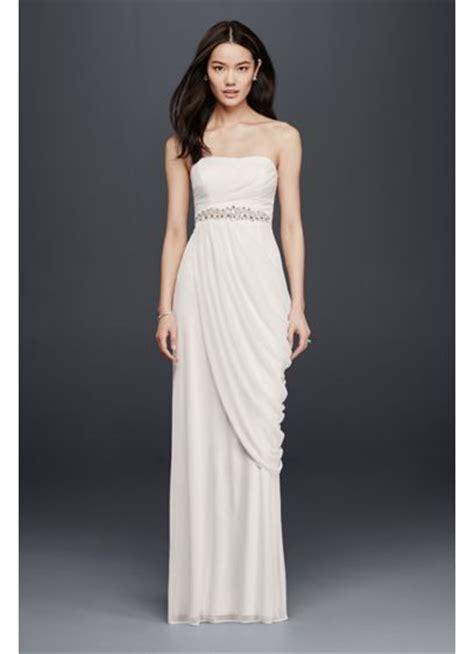 draping a dress sheath wedding dress with beading and side drape david s