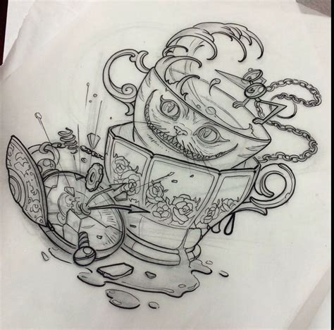 alice in wonderland tattoos designs in tatuering