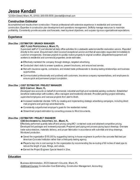 construction estimator resume sle construction estimator resume tomyumtumweb