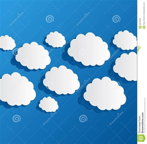 How To Make 3d Clouds Out Of Paper - set cut out clouds blue paper stock photo image 30079620
