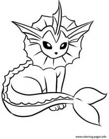 Vaporeon eevee pokemon evolutions coloring pages free printable