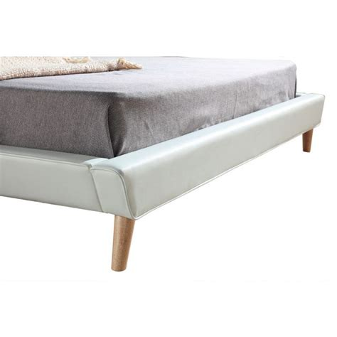 Button Tufted King Pu Leather Bed Frame In White Buy Tufted Bed Frame
