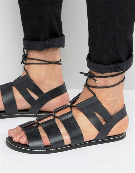 asos gladiator sandals in black leather with tie lace in