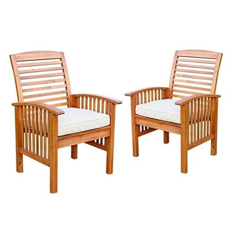 walker edison wood patio chair in brown with cushion set