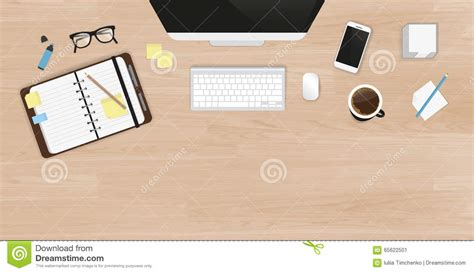 work desk organization realistic work desk organization top view stock vector
