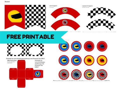printable race car party decorations free racing car printable car birthday party pinterest