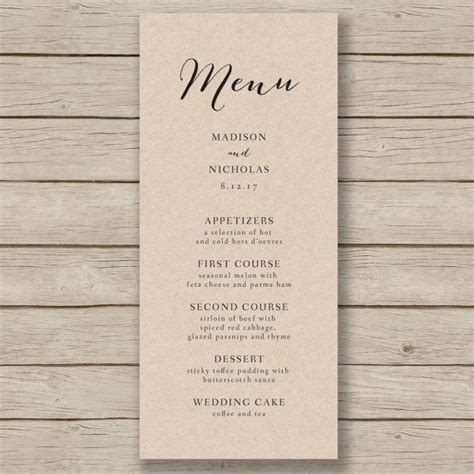 The 25 Best Wedding Menu Template Ideas On Pinterest Free Printable Menu Template Wedding Wedding Table Menu Template