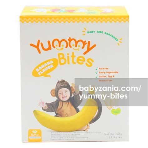 Bites Rice Crackers Biskuit Bayi 6m Berkualitas jual murah bites baby rice cracker 50 gram banana makanan di jakarta