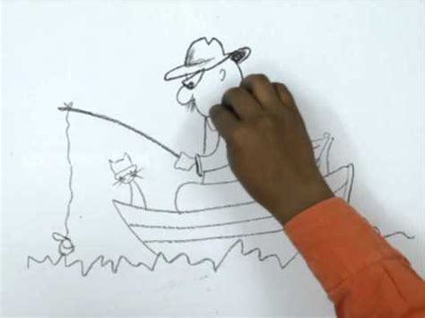 how to draw a fisherman boat how to draw a man fishing youtube
