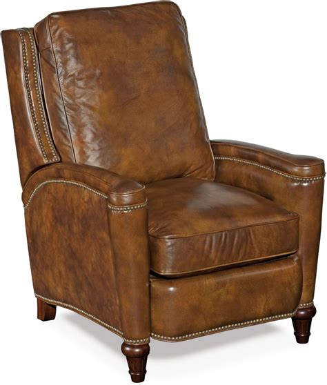 distressed leather recliner rylea medium brown leather recliner from hooker coleman