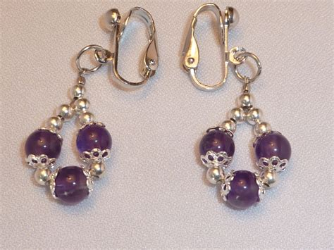 Handcrafted Earrings - handmade amethyst clip on earrings earrings photo