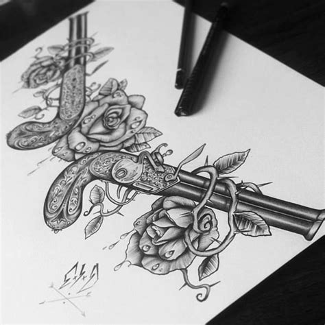 gun roses tattoo guns and roses sketch tattoos