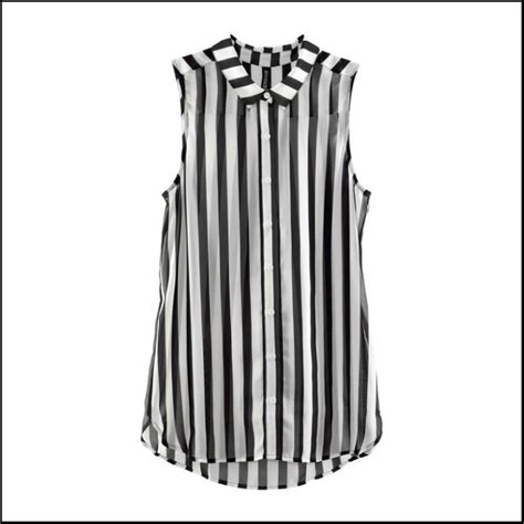 Black And White Chiffon Blouse by S Fashion Style Black And White Vertical Stripes