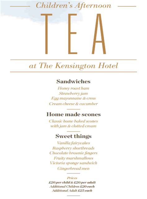 Children S Afternoon Tea At The Kensington Hotel The Glam Mummy Afternoon Tea Menu Template