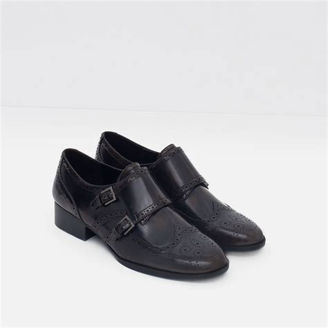 brown flat shoes zara flat shoes with brogue detail in brown lyst