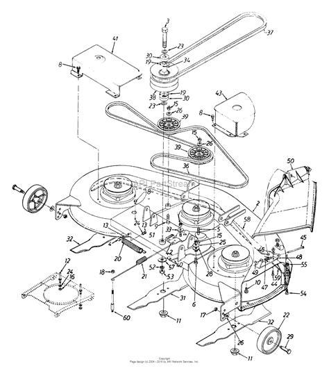 mtd parts diagram mtd 13au694h016 1999 parts diagram for deck assembly h