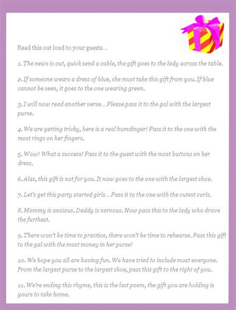 Pass The Prize Baby Shower Poem by Baby Shower Poems End Of And Gifts