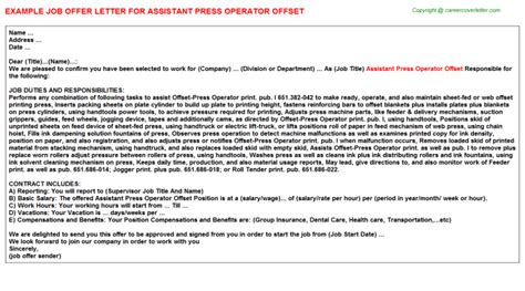 Press Assistant Cover Letter by Assistant Offer Letters