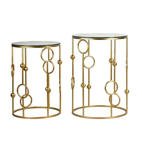 glass accent table joveco golden modern designed accent metal round end table