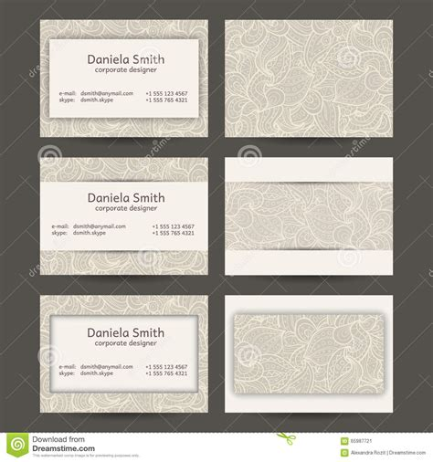 Vintage Business Cards Templates Free by Vintage Business Cards Templates Stock Vector Image