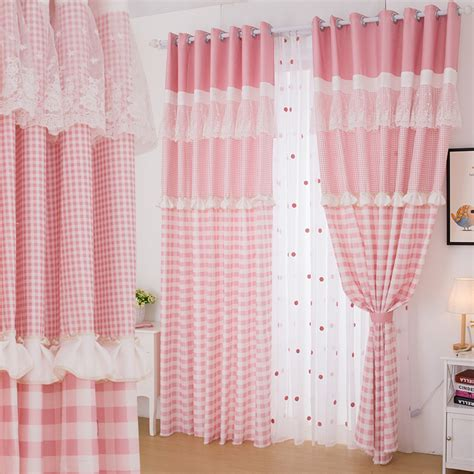 aliexpress com buy princess white pink curtain lace free shipping pink plaid lace country princess room