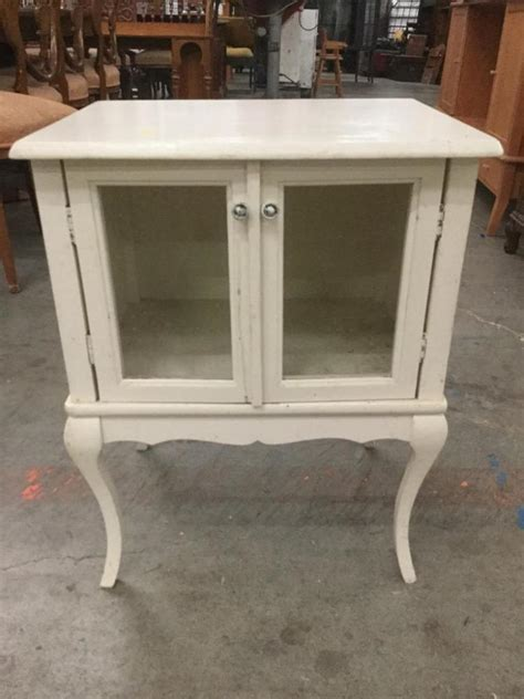 table with glass doors vintage white wooden side table with glass doors
