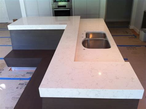 White Kitchen Island Cart Caesarstone Frosty Carrina Island