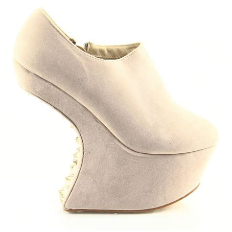 Zip Up High Heel Ankle Boots womens high heel wedge zip up ankle boots studded