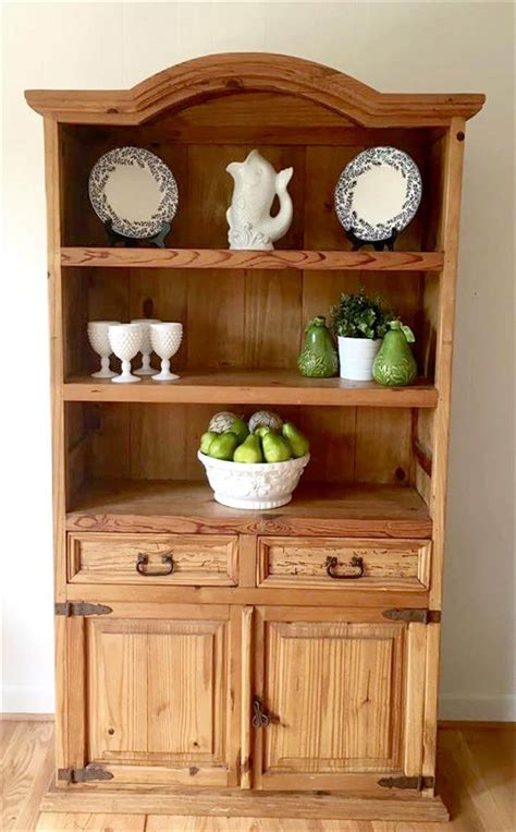 Kitchen Hutch Furniture Diy Recycled Pine Wood Kitchen Hutch Diy And Crafts
